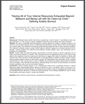 First page of a published paper on Autistic burnout