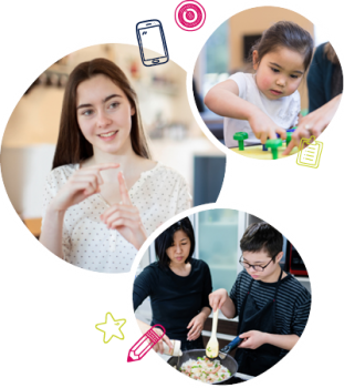 A teen girl using sign language, a young girl receiving occupational therapy and a young boy cooking with a woman