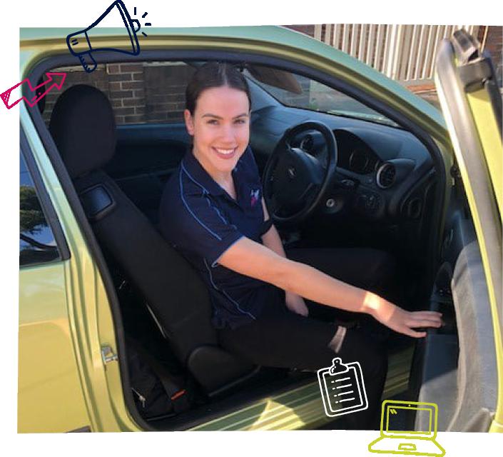 Ability Action Australia employee in car