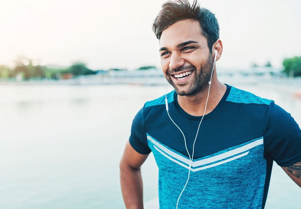 Male jogger with headphones