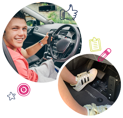 Occupational therapy driving service banner featuring examples of NDIS car modiications